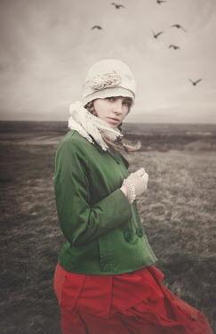 Anna Buczek GIRL IN HAT WITH WINTRY LANDSCAPE Women