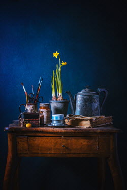 Magdalena Wasiczek Silver teapot, daffodils and miscellaneous objects on wooden table Miscellaneous Objects