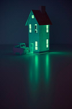 Catherine Macbride MINIATURE HOUSE AND CAR AT NIGHT Miscellaneous Objects