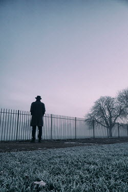 Tim Robinson SILHOUETTED MAN STANDING IN FOGGY PARK Men