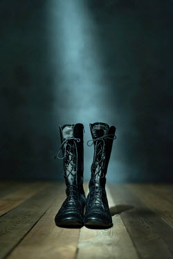 Ysbrand Cosijn PAIR OF FEMALE BLACK HISTORICAL BOOTS Miscellaneous Objects