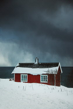 Evelina Kremsdorf RED HOUSE IN SNOW BY OCEAN Houses