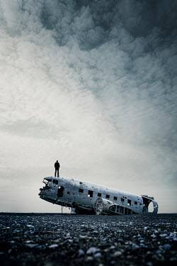 Evelina Kremsdorf MAN STANDING ON WRECK OF PLANE Men
