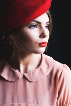 Marie Carr CLOSE UP OF SERIOUS WOMAN IN BERET Women