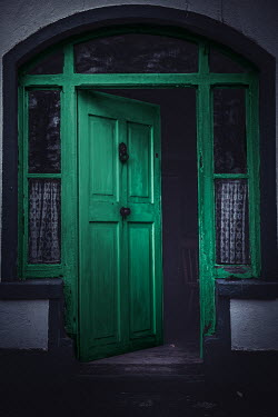 Marie Carr GREEN OPEN DOOR IN OLD HOUSE Building Detail