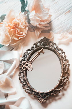 Sandra Cunningham Small mirror with key and peony flowers