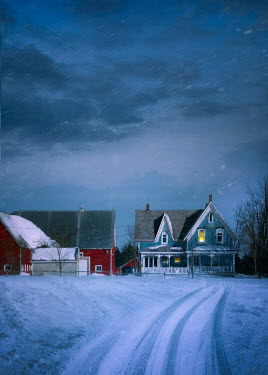 Sandra Cunningham Farmhouse and barn on cold winter day