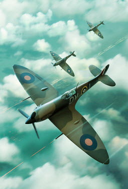 Stephen Mulcahey Spitfires diving above the clouds