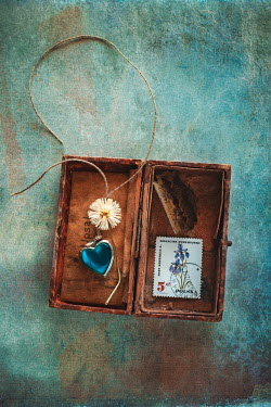 Magdalena Wasiczek box with daisy, pendant, stamp, string and razor blade Miscellaneous Objects