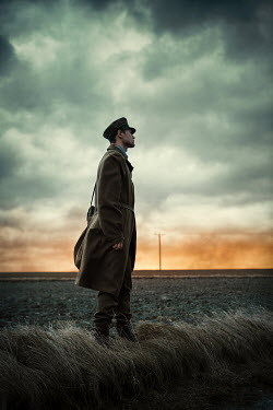 Magdalena Russocka soldier in uniform standing in misty field