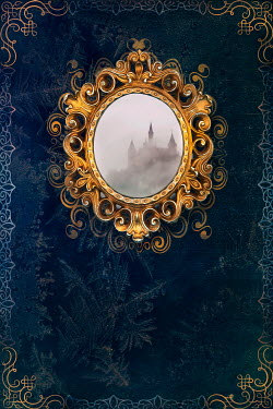 Sandra Cunningham MISTY CASTLE IN ORNATE FRAME ON BOOK Miscellaneous Objects