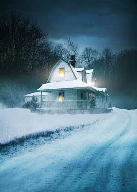 Sandra Cunningham HOUSE WITH SHINING LIGHTS IN SNOWY COUNTRYSIDE Houses