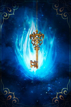 Sandra Cunningham GOLDEN KEY WITH BLUE FLAMES Miscellaneous Objects