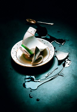 Jane Morley BROKEN CUP WITH SPILT TEA AND SPOON Miscellaneous Objects