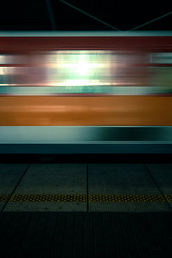 Magdalena Russocka BLURRED MOVING TRAIN IN STATION Railways/Trains