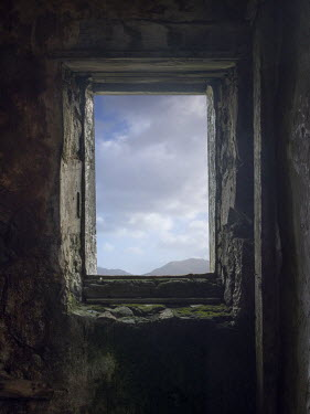 David Baker WINDOW IN STONE COTTAGE WITH MOUNTAINS Building Detail