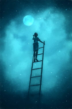 Des Panteva LITTLE BOY ON LADDER REACHING FOR THE MOON Children