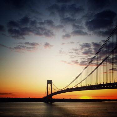 Evelina Kremsdorf Verrazano-Narrows Bridge at sunset in New York City