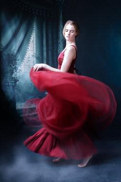 Elisabeth Ansley BAREFOOT WOMAN IN RED DANCING BY WINDOW Women