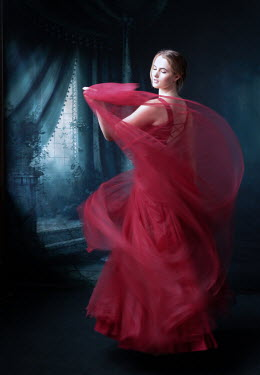 Elisabeth Ansley WOMAN IN RED FLOWING DRESS DANCING BY WINDOW Women