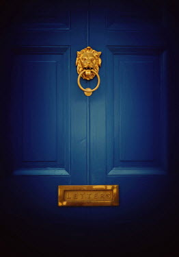 Lyn Randle BLUE DOOR WITH GOLDEN LION KNOCKER Building Detail