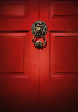 Lyn Randle RED DOOR WITH LION KNOCKER Building Detail