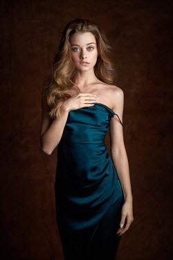 Alexander Vinogradov Young woman in blue silk dress