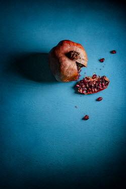 Sally Mundy Rotten pomegranate on blue background