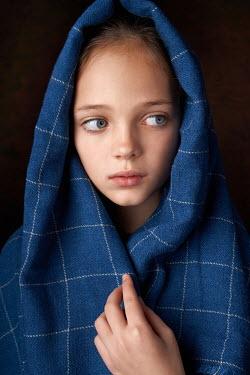 Alexander Vinogradov LITTLE GIRL COVERED WITH BLUE SCARF Children
