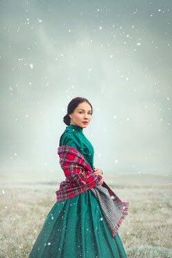 Joanna Czogala HISTORICAL WOMAN WITH PLAID SHAWL IN WINTRY COUNTRYSIDE Women
