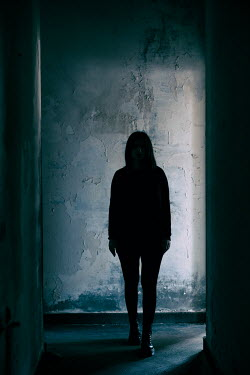 Mohamad Itani SILHOUETTED GIRL IN OLD SHADOWY BUILDING Women