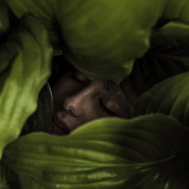 Marko Nadj SLEEPING WOMAN COVERED WITH LEAVES Women