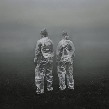 Marko Nadj TWO PEOPLE IN PROTECTIVE PLASTIC SUITS IN FIELD Men