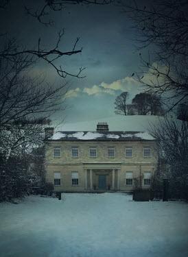 Mark Owen GRAND HISTORICAL HOUSE IN SNOW AT DUSK Houses