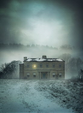 Mark Owen GRAND HOUSE IN SNOW WITH LIGHT IN BEDROOM Houses