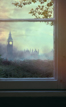 Drunaa WINDOW WITH VIEW OF LONDON AT DUSK Miscellaneous Cities/Towns
