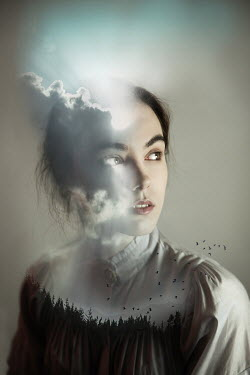 Natasza Fiedotjew Clouds and woods superimposed on young woman Women
