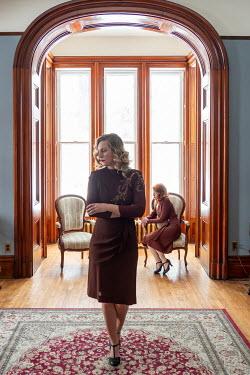 Elisabeth Ansley TWO UNHAPPY RETRO WOMEN IN HOUSE Women