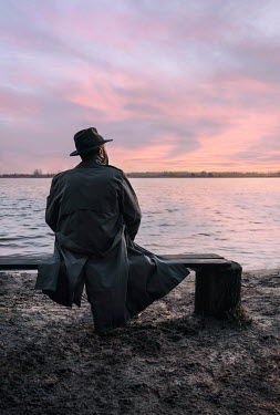 Jaroslaw Blaminsky 1940S MAN IN HAT WATCHING SUNSET BY LAKE Men