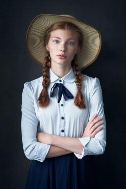 Alexander Vinogradov GIRL WITH PLAITS IN HAT STANDING Women