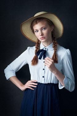 Alexander Vinogradov GIRL WITH PLAITS IN STRAW HAT STANDING Women