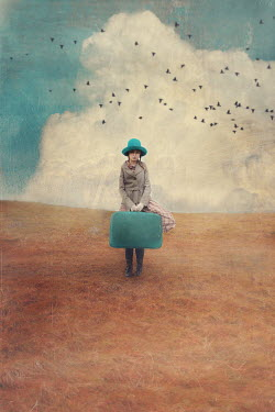 Anna Buczek GIRL CARRYING SUITCASE IN FIELD WITH BIRDS Children