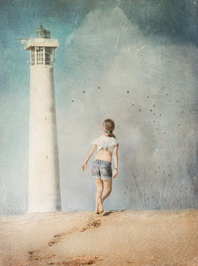 Anna Buczek GIRL IN SHORTS ON BEACH WITH LIGHTHOUSE Children