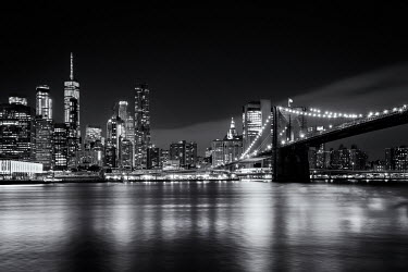 Evelina Kremsdorf NEW YORK RIVER AND BRIDGE AT NIGHT Specific Cities/Towns