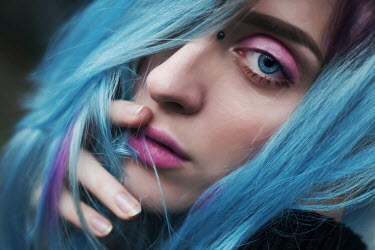Greta Larosa CLOSE UP OF GIRL WITH BLUE HAIR Women