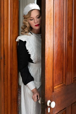 Elisabeth Ansley BLONDE RETRO MAID OPENING DOOR Women