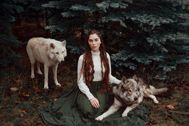 Nathalie Seiferth BRUNETTE GIRL SITTING WITH WOLVES IN COUNTRYSIDE Women
