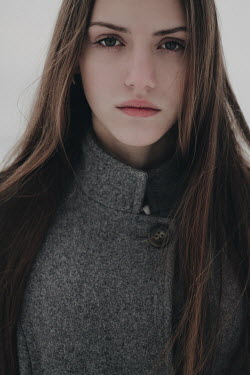 Alina Zhidovinova SAD BRUNETTE GIRL IN GREY COAT OUTDOORS Women