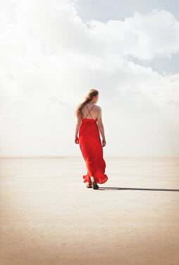 Buffy Cooper GIRL IN RED DRESS WALKING IN DESERT Women