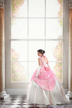 Lee Avison VICTORIAN WOMAN IN BALLGOWN BY GRAND WINDOW Women